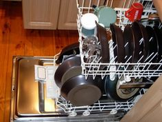 Freshen the dishwasher  Add a lemon half to the top rack of the dishwasher to freshen a musty smelling dishwasher (and the dishes inside).   Image: Piotrus