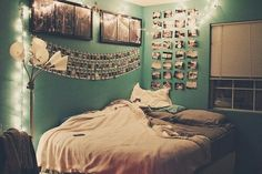 When I grow up I would like to have a bedroom decorated with pictures of friends, and places I've traveled to, next to my bed with lights hanging above! I would keep the furniture simple so that the bedroom would not look too busy!