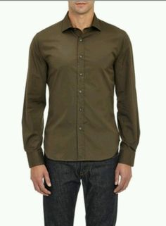 NEW MEN'S TODD SNYDER OLIVE POLISHED COTTON BUTTON DOWN SHIRT SIZE MEDIUM #ToddSnyder #ButtonFront