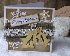 Natural color 6 x 6 Christmas Card Merry Christmas by 4SeasonCards