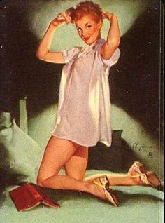 """24x30 1950/'s Elvgren Pin-Up Actress Poster /""""Admiring Miss Sylvania/"""""""