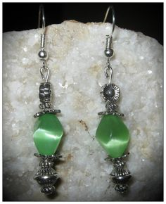 Handmade Silver Earrings with Shaped Green Cat Eye by IreneDesign2011