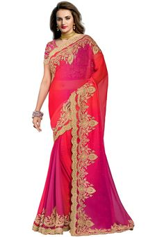 #Pink #Chiffon #Saree With #Blouse.  Pink Chiffon Saree designed with Zari,Resham Embroidery With Stone Work And Lace Border.   INR:3,706.00  With Exclusive Discounts  Grab:http://tinyurl.com/hn352dc