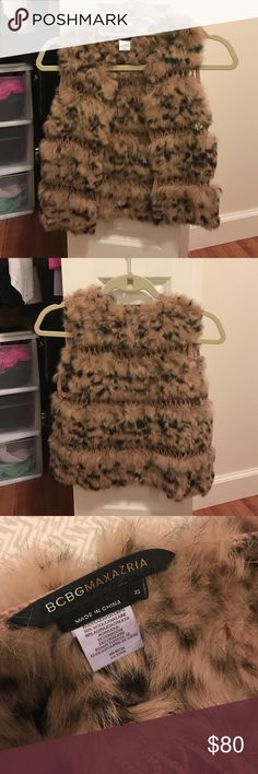 BCBGMAXAZRIA Fur Vest A lovely little vest. Incredibly soft. Perfect for layering. Adorable crochet inlays and hook and eye closures. Rabbit fur/wool/acrylic BCBGMaxAzria Other