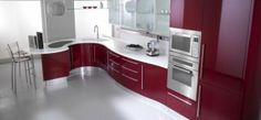 Romantic Kitchen Decorating Ideas to Attract Sympathy your Wife!: Modern Glossy Red White Cabinet Romantic Kitchen Decorating Ideas