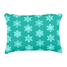 A delicate, lacy snowflake pattern on a solid background with a striated, Ikat woven texture - light aqua snowflakes on a deep turquoise / peacock ground Soft Pillows, Accent Pillows, Decorative Pillows, Bed Pillows, Turquoise Throw Pillows, Solid Background, Snowflake Pattern, Ikat, Soft Fabrics