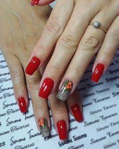 24 Modelos de Unhas decoradas românticas com flores Luv Nails, Chic Nails, Manicure Y Pedicure, Mani Pedi, Acrylic Nail Art, Flower Nails, Nail Arts, Summer Nails, Flower Designs