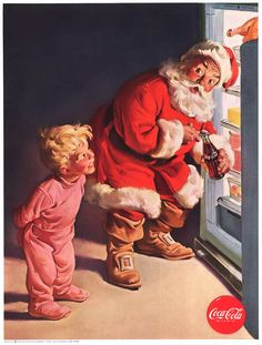 On December 28, 1959, this Coca-Cola Santa print ad appeared in Life Magazine. It features Santa Claus at the refrigerator being watched as he opens a bottle of Coke. This ad also appeared in The Saturday Evening Post, Boys' Life, National Geographic, Time, Sports Illustrated and Good Housekeeping, among others.