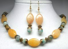 Timeless Yellow Jade Necklace Set w/ Green Amazonite, Marquise Shaped Jade & Vintage Brass Caps. $38 I need a piece that incorporates yellow in my jewelry box, and I love this one for it's timeless and vintage appeal.