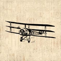 Airplane Art Vintage Artwork Triplane Wall Art Antique Airplane Print with Vintage Script Paper Background No.127 B4 8x8 8x10 11x14 on Etsy, $12.00