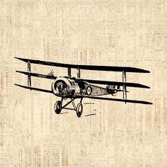 Airplane Art Vintage Artwork Triplane Wall Art Antique Airplane Print with Vintage Script Paper Background No.127 B4 8x8 8x10 11x14 on Etsy, $12.00