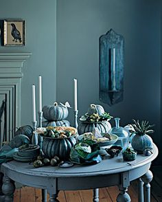 Exploring the idea of blue fall table settings...A for effort....lol
