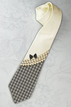 Chanel inspired womans tie with pearls and black bow by tiestory