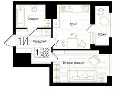 ЖК New York Concept House: планировка 1-комнатной квартиры 40.33 м2, тип 1И