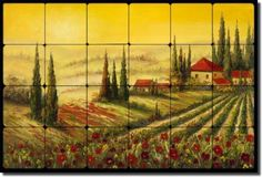 Ching Tuscan Landscape Art Tumbled Marble Tile Mural | eBay