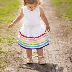 Create a simple Rainbow Bias Tape Skirt for girls of all sizes!