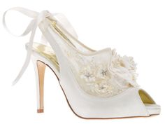 a75f16e762a Designer Wedding Shoes by Freya Rose · Beautiful French Chantilly lace  insert peep toe
