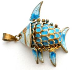 Vintage Enamel Articulated Fish Pendant Gold Over Silver Blue Chinese Charm | eBay