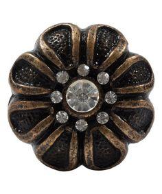 This Bronze Cast Iron Rhinestone Flower Knob - Set of Four is perfect! #zulilyfinds