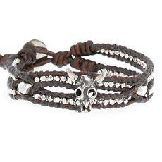 Cow Skull Pendant Bracelet on Natural Grey Leather