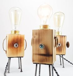 Table lamp wood industrial steampunk style handmade with doll eye, wood, steel and vintage bulb included – creature CLEO MODEL Wooden Table Lamps, Wood Lamps, Wood Table, Handmade Lamps, Handmade Table, Handmade Design, Luminaria Diy, Industrial Style Lamps, Metal Pipe