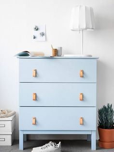 14 DIYs to Add Blue to Your Home Decor | Want to bring a spot of brightness to your home? Here's a roundup of furniture tutorials and hacks that all have one thing in common: the ever-trending color, blue. Whether you color dip an IKEA stool, transform a battered curbside find with TLC and paint, or create a magnificent velvet headboard out of thin air, there's surely a true-blue project on this list that's perfect for you.