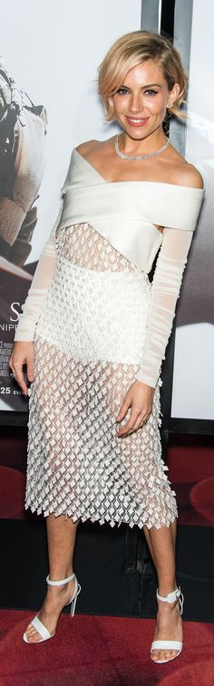 Sienna Miller rocked a sheer Balenciaga number on the red carpet! #ishoes #redcarpethair #hairstyles