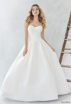 ella rosa spring 2017 bridal strapless semi sweetheart neckline simple clean pleated skirt ball gown a  line wedding dress sweep train (374) mv