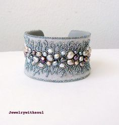 Bead embroidery cuff bracelet with freshwater pearls in grey gray silver peacock, mauve and cream white - Winter lace. $143.00, via Etsy.