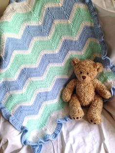 Beautiful Crochet Baby Blanket - Blue, Mint, and White Chevron with Blue Ruffle Trim on Etsy, $50.00