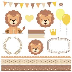 Cute Lion Clipart, Brown and beige lins clipart, lion clipart, lion of king baby shower, lion baby s Lion Baby Shower, Baby Girl Shower Themes, Lion Clipart, Lion Party, Bebe Shower, Sunshine Birthday Parties, Lion Illustration, Cute Lion, King Baby