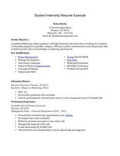5 school internship resume samples sample resumes student
