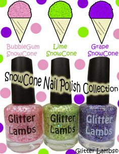 Glitter Lambs: Snow Cone Nail Polish Collection of 3- Bubblegum Snowcone, Lime Snowcone, and Grape Snowcone
