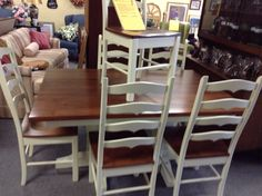 Custom made table and 6 chairs. All hardwood construction. Two additional leaves extend table to 96 inches. Kitchen Dining Sets, Country Kitchen, Hardwood, Dining Chairs, Construction, Leaves, Table, Furniture, Home Decor