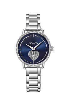 SO&CO New York, Ceas decorat cu cristale, Argintiu Online Watch Store, Vogue, Stainless Steel Bracelet, Link Bracelets, Quartz Watch, Yorkie, Michael Kors Watch, Bracelet Watch, Jewelry Watches