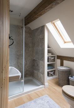 tiny bathroom but look how well the roof window allows the light to just flood . - tiny bathroom but look how well the roof window allows the light to just flood in and give more of - Tiny Bathrooms, Upstairs Bathrooms, Small Bathroom, Bathroom Ideas, Bathroom Grey, Bathroom Plans, Bathroom Remodeling, Design Bathroom, Bathroom Layout