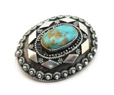 ANTIQUE EARLY 20thC BEZALEL 935 SILVER & TURQUOISE PENDANT BROOCH, FULLY MARKED