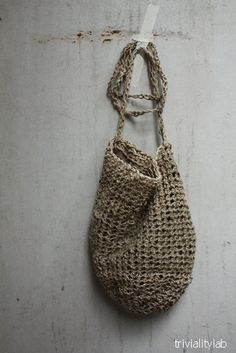 crochet  natural hemp bag