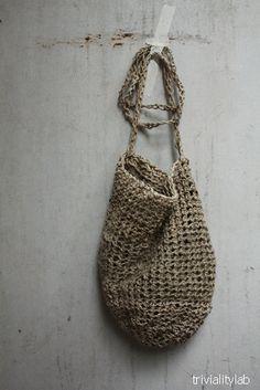crochet  natural hemp bag