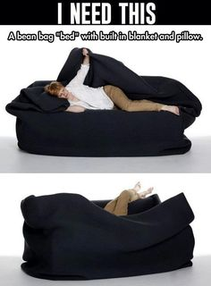 My Life Really Needs This. I have a bean bag chair. I place it in front of my t. But my room is freezing and I got a leather bean bag chair. So this would be perfect! Bean Bag Bed, Cool Inventions, My New Room, Looks Cool, My Dream Home, Cool Furniture, Furniture Stores, Must Haves, Cool Things To Buy