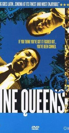 """Directed by Fabián Bielinsky.  With Ricardo Darín, Gastón Pauls, Leticia Brédice, María Mercedes Villagra. Two con artists try to swindle a stamp collector by selling him a sheet of counterfeit rare stamps (the """"nine queens"""")."""