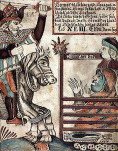 "Hermóðr the Brave (Old Norse ""war-spirit""[1], anglicized as Hermod) is a figure in Norse mythology, the son of god Odin."