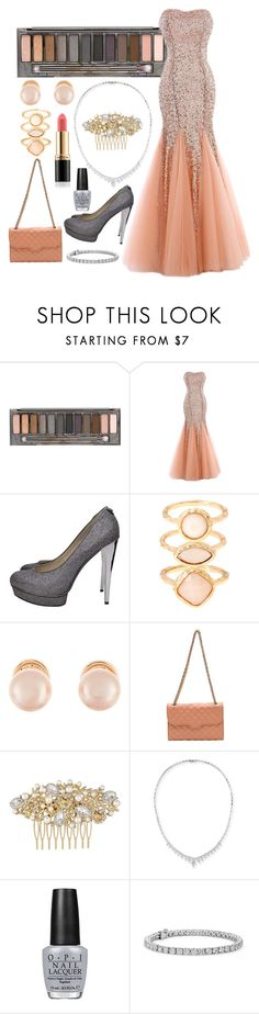 """Peach Formal Gown"" by evol-love ❤ liked on Polyvore featuring Urban Decay, Michael Kors, Monsoon, Kenneth Jay Lane, Rebecca Minkoff, Stephen Webster, OPI, Revlon and Blue Nile"