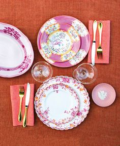 dusty rose table setting