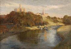 JAMES KAY R.S.A., R.S.W. (SCOTTISH, 1858-1942) WARKWORTH CASTLE 45cm x 66cm