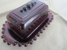 Your place to buy and sell all things handmade Periwinkle, Lilac, Stick Butter, Purple Kitchen, Antique Dishes, Purple Stuff, Purple Glass, It's Raining, Candy Dishes