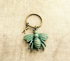 FREE SHIPPING Large oxidsed Bronze keychain verdigris by SAjolie