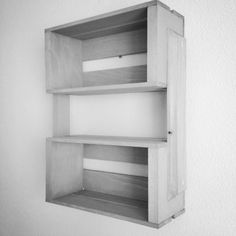 Small Wooden Crate Wall Mounted Shelving Unit Wood Crate Shelves, Wall Hanging Shelves, Wood Crates, Small Wooden Crates, Diy Wood Projects, Bookcase, Driftwood, Shelving, Basement
