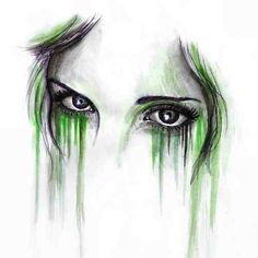 Water colour and ink on Pretty green eyes Watercolor And Ink, Watercolor Paintings, Art Rules, A Level Art, Simple Art, Easy Art, Pretty Green, Marker Art, Ink Art