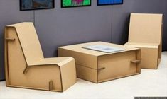 10 Genius DIY Cardboard Furniture Projects - Get Inspired! Cardboard Chair, Diy Cardboard Furniture, Cardboard Box Crafts, Cardboard Design, Paper Furniture, Recycled Furniture, Furniture Projects, Furniture Making, Furniture Design